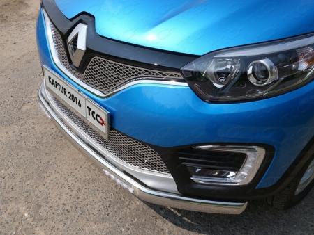 Renault Kaptur 2016- Защита передняя нижняя (овальная с ДХО) 75х42 мм